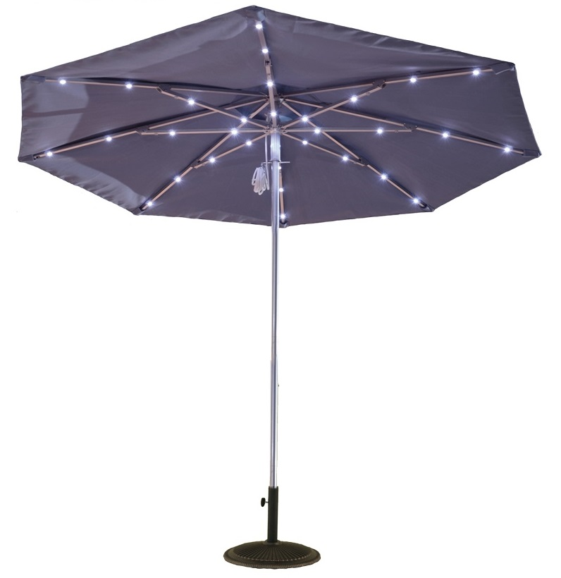 9ft Solar Light Umbrella Aluminum Chaise Lounges