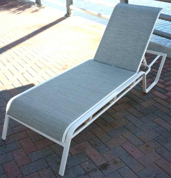 Commercial sling chaise lounge i 149 aluminum chaise for Aluminum commercial stack chaise lounge